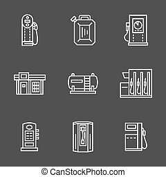Simple line white gas station vector icons - Gasoline or...