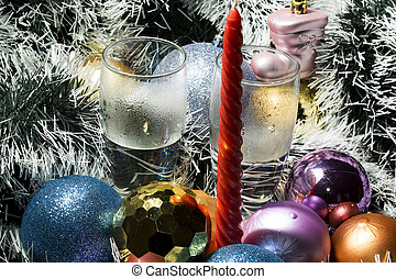 happy new Year red candle, silver tinsel and blue,gold balls...