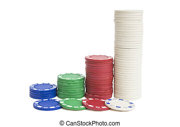 4 stacks of poker chips on white with clipping path