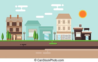 street shop building flat illustration town old vintage mall store