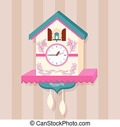 cuckoo clock bird vector on wall flat cute - cuckoo clock...