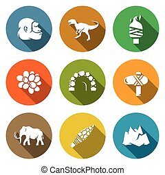 Stone Age and Dawn of the Dinosaurs Icons Set Vector...