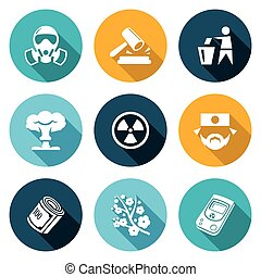 Nuclear Power in Japan Icons Set Vector Illustration -...