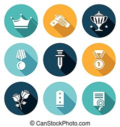 Reward Icons Set Vector Illustration - Isolated Flat Icons...