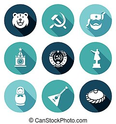 Russia Icons Set Vector Illustration - Isolated Flat Icons...