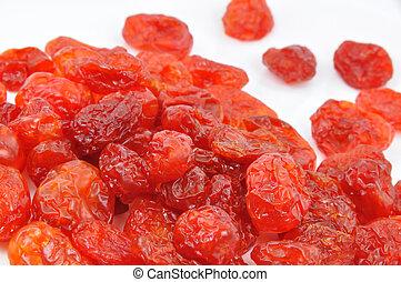Dried Cornelian Cherries on White