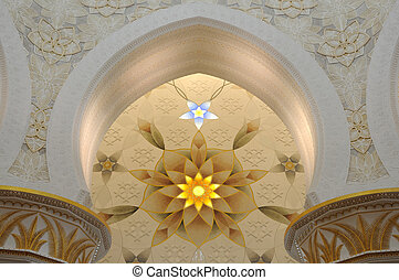 Interior of Sheikh Zayed Mosque in Abu Dhabi, United Arab...