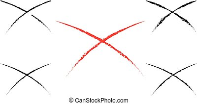 Black and red vector crosses outline set, cross silhouette...