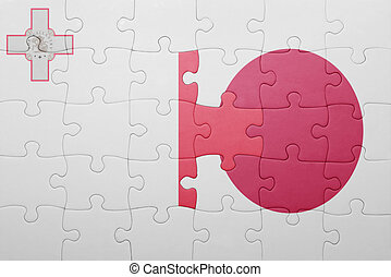 puzzle with the national flag of malta and japan
