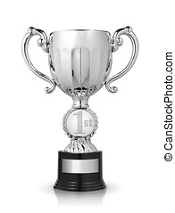 Silver cup trophy isolated on white background