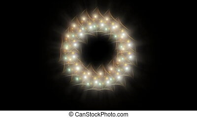 Radiant Christmas wreath with rays - Shiny Christmas wreath...