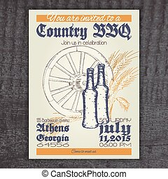 vector hand drawn vintage invitation on country barbecue with wheel, ear of wheat and bottle on wooden desk
