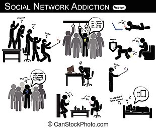 Social network addiction . a man use smartphone every time , everywhere ( in restroom , office , home , bus , dining room ) and ignore everything .  people like to self portrait , photography .