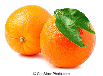 two oranges isolated on white background.