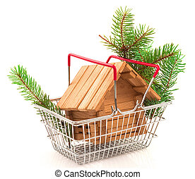 Wooden small house in a metal basket with Christmas twig