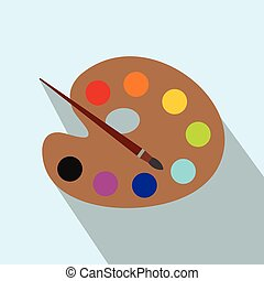 Palette with brush flat icon