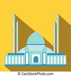 Mosque flat icon - Vector illustration long shadow flat icon...