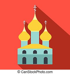 Russian orthodox church flat icon. Single illustration on a...