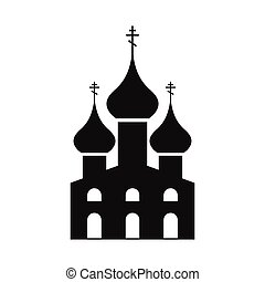 Russian orthodox church simple icon isolated on white...