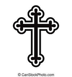 Christian cross simple icon isolated on white background