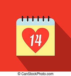 14 February calendar flat icon Single symbol with heart on a...