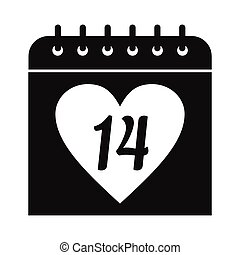 14 February calendar simple icon isolated on white...