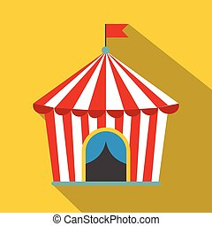 Vintage circus tent flat icon