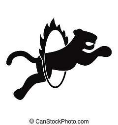 Tiger in flaming hoop simple illustration - Circus tiger...