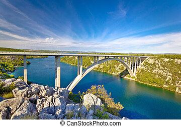 Arch bridge over Krka river, Dalmatia, Croatia