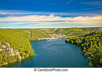 Krka river and town of Skradin view, Dalmatia, Croatia