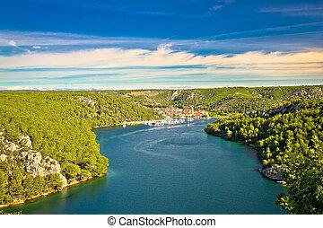 Krka river and town of Skradin view, Dalmatia, Croatia