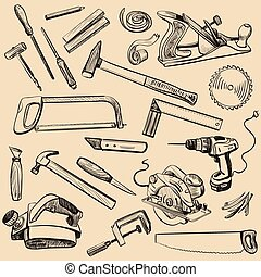 Joinery icons set. Carpenter character at work. Woodworking...