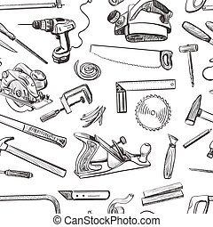 Vector seamless pattern with hand drawn common tools used by...