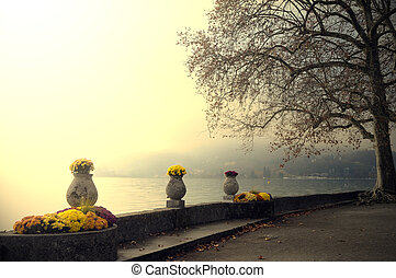 Annecy lake and flowers - Landscape of Annecy lake...