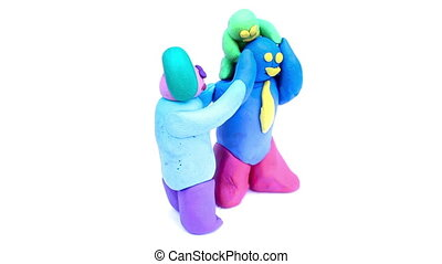 plasticine familys day concept on isolated
