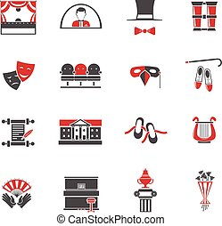 Theatre Red Black Icons Set - Theatre red black icons set...