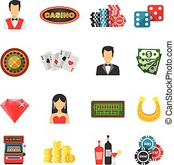 Casino Icons Set - Casino icons set with cards money and...