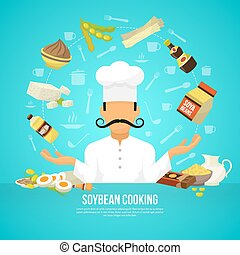 Soy food concept with flat organic products and chef avatar...