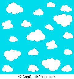 Cloud seamless pattern on blue background. Vector...
