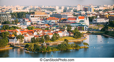 Panorama, cityscape of Minsk, Belarus. Summer season, sunset tim