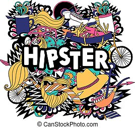 Hipster lifestyle symbols composition flat poster - Hipster...