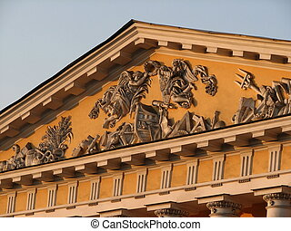 pediment - Sculptural pediment on a military museum. Early...