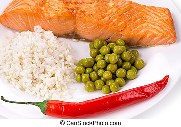 Grilled salmon fillet with risotto as haute cuisine Isolated...