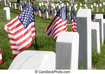 Honoring Heroes - Flags wave on a summer hillside to beckon...