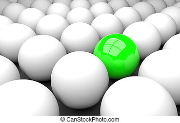 Stand out from the masses - 3d render illustration - green...