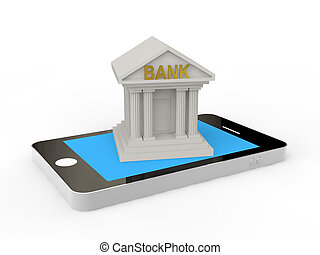 3d bank building on a mobile phone