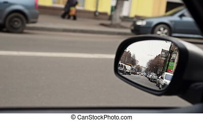 View in rear view driving mirror