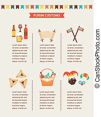 symbols of Jewish holiday purim. infographics design -...