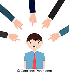 Fingers pointing at a unhappy man - Illustration of fingers...