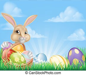 Easter Bunny Scene - Easter scene with Easter bunny with a...
